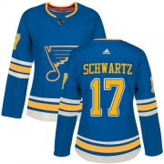 Wholesale Cheap Adidas Blues #17 Jaden Schwartz Blue Alternate Authentic Women's Stitched NHL Jersey