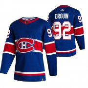 Wholesale Cheap Montreal Canadiens #92 Jonathan Drouin Blue Men's Adidas 2020-21 Reverse Retro Alternate NHL Jersey