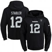 Wholesale Cheap Nike Raiders #12 Kenny Stabler Black Name & Number Pullover NFL Hoodie