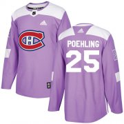 Wholesale Cheap Adidas Canadiens #25 Ryan Poehling Purple Authentic Fights Cancer Stitched Youth NHL Jersey