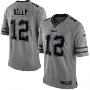Wholesale Cheap Nike Bills #12 Jim Kelly Gray Men's Stitched NFL Limited Gridiron Gray Jersey