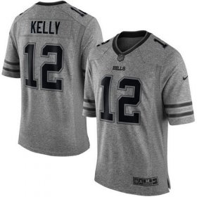Wholesale Cheap Nike Bills #12 Jim Kelly Gray Men\'s Stitched NFL Limited Gridiron Gray Jersey