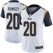 Wholesale Cheap Nike Rams #20 Jalen Ramsey White Women's Stitched NFL Vapor Untouchable Limited Jersey