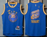 Wholesale Cheap Men's Golden State Warriors #35 Kevin Durant Blue The City Revolution 30 Swingman Basketball Jersey