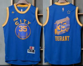 Wholesale Cheap Men\'s Golden State Warriors #35 Kevin Durant Blue The City Revolution 30 Swingman Basketball Jersey