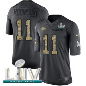 Wholesale Cheap Nike Chiefs #11 Demarcus Robinson Black Super Bowl LIV 2020 Men\'s Stitched NFL Limited 2016 Salute to Service Jersey