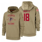 Wholesale Cheap Atlanta Falcons #18 Calvin Ridley Nike Tan 2019 Salute To Service Name & Number Sideline Therma Pullover Hoodie