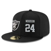 Wholesale Cheap Oakland Raiders #24 Charles Woodson Snapback Cap NFL Player Black with Silver Number Stitched Hat
