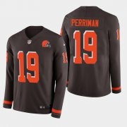 Wholesale Cheap Nike Browns #19 Breshad Perriman Brown Team Color Men's Stitched NFL Limited Therma Long Sleeve Jersey