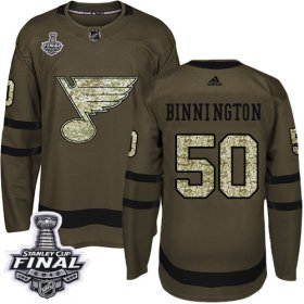 Wholesale Cheap Adidas Blues #50 Jordan Binnington Green Salute to Service 2019 Stanley Cup Final Stitched NHL Jersey