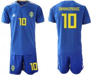 Wholesale Cheap Sweden #10 Ibrahimovic Away Soccer Country Jersey