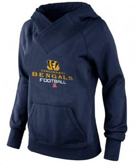 Wholesale Cheap Women\'s Cincinnati Bengals Big & Tall Critical Victory Pullover Hoodie Navy Blue