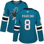 Wholesale Cheap Adidas Sharks #8 Joe Pavelski Teal Home Authentic Women's Stitched NHL Jersey
