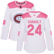 Wholesale Cheap Adidas Canadiens #24 Phillip Danault White/Pink Authentic Fashion Women's Stitched NHL Jersey