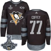 Wholesale Cheap Adidas Penguins #77 Paul Coffey Black 1917-2017 100th Anniversary Stanley Cup Finals Champions Stitched NHL Jersey