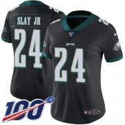 Wholesale Cheap Nike Eagles #24 Darius Slay Jr Black Alternate Women's Stitched NFL 100th Season Vapor Untouchable Limited Jersey
