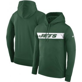 Wholesale Cheap Men\'s New York Jets Nike Green Sideline Team Performance Pullover Hoodie