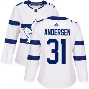 Wholesale Cheap Adidas Maple Leafs #31 Frederik Andersen White Authentic 2018 Stadium Series Women's Stitched NHL Jersey