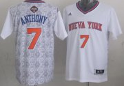 Wholesale Cheap New York Knicks #7 Carmelo Anthony Revolution 30 Swingman 2014 Noche Latina White Jersey