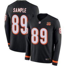 Wholesale Cheap Nike Bengals #89 Drew Sample Black Team Color Men\'s Stitched NFL Limited Therma Long Sleeve Jersey