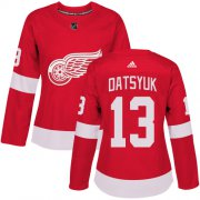 Wholesale Cheap Adidas Red Wings #13 Pavel Datsyuk Red Home Authentic Women's Stitched NHL Jersey