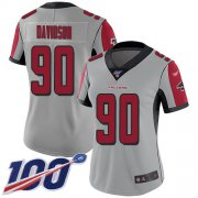 Wholesale Cheap Nike Falcons #90 Marlon Davidson Silver Women's Stitched NFL Limited Inverted Legend 100th Season Jersey
