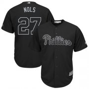 "Wholesale Cheap Phillies #27 Aaron Nola Black ""Nols"" Players Weekend Cool Base Stitched MLB Jersey"
