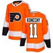 Wholesale Cheap Adidas Flyers #11 Travis Konecny Orange Home Authentic Stitched Youth NHL Jersey