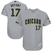 Wholesale Cheap Cubs #17 Kris Bryant Grey Flexbase Authentic Collection Memorial Day Stitched MLB Jersey