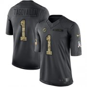 Wholesale Cheap Nike Dolphins #1 Tua Tagovailoa Black Men's Stitched NFL Limited 2016 Salute to Service Jersey