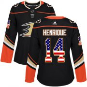 Wholesale Cheap Adidas Ducks #14 Adam Henrique Black Home Authentic USA Flag Women's Stitched NHL Jersey