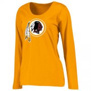 Wholesale Cheap Women's Washington Redskins Pro Line Primary Team Logo Slim Fit Long Sleeve T-Shirt Yellow