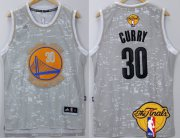 Wholesale Cheap Men's Golden State Warriors #30 Stephen Curry Gray City Lights 2017 The NBA Finals Patch Jersey