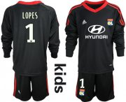 Wholesale Cheap Lyon #1 Lopes Black Goalkeeper Long Sleeves Kid Soccer Club Jersey