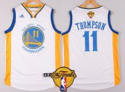 Wholesale Cheap Men's Golden State Warriors #11 Klay Thompson White 2017 The NBA Finals Patch Jersey