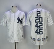 Wholesale Cheap Yankees #2 #20 #42 #46 White Strip World Series Champions Stitched Jersey