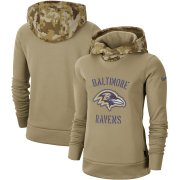 Wholesale Cheap Women's Baltimore Ravens Nike Khaki 2019 Salute to Service Therma Pullover Hoodie
