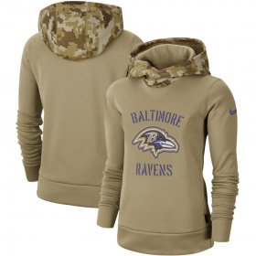 Wholesale Cheap Women\'s Baltimore Ravens Nike Khaki 2019 Salute to Service Therma Pullover Hoodie