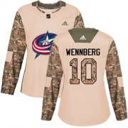 Wholesale Cheap Adidas Blue Jackets #10 Alexander Wennberg Camo Authentic 2017 Veterans Day Women's Stitched NHL Jersey