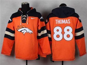 Wholesale Cheap Nike Broncos #88 Demaryius Thomas Orange Player Pullover NFL Hoodie