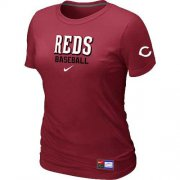 Wholesale Cheap Women's Cincinnati Reds Nike Short Sleeve Practice MLB T-Shirt Red
