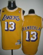 Wholesale Cheap Los Angeles Lakers #13 Wilt Chamberlain Yellow Swingman Throwback Jersey