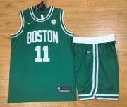 Wholesale Cheap Men's Boston Celtics #11 Kyrie Irving Green 2017-2018 Nike Swingman Stitched NBA Jersey With Shorts