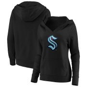 Wholesale Cheap Seattle Kraken Women's Primary Logo V-Neck Pullover Hoodie Black