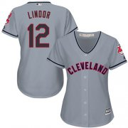 Wholesale Cheap Indians #12 Francisco Lindor Grey Women's Road Stitched MLB Jersey