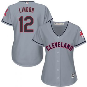 Wholesale Cheap Indians #12 Francisco Lindor Grey Women\'s Road Stitched MLB Jersey