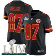 Wholesale Cheap Nike Chiefs #87 Travis Kelce Black Super Bowl LIV 2020 Youth Stitched NFL Limited Rush Jersey