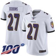 Wholesale Cheap Nike Ravens #27 J.K. Dobbins White Youth Stitched NFL 100th Season Vapor Untouchable Limited Jersey