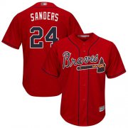 Wholesale Cheap Braves #24 Deion Sanders Red New Cool Base Stitched MLB Jersey
