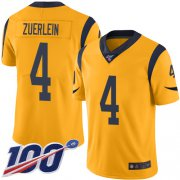 Wholesale Cheap Nike Rams #4 Greg Zuerlein Gold Men's Stitched NFL Limited Rush 100th Season Jersey